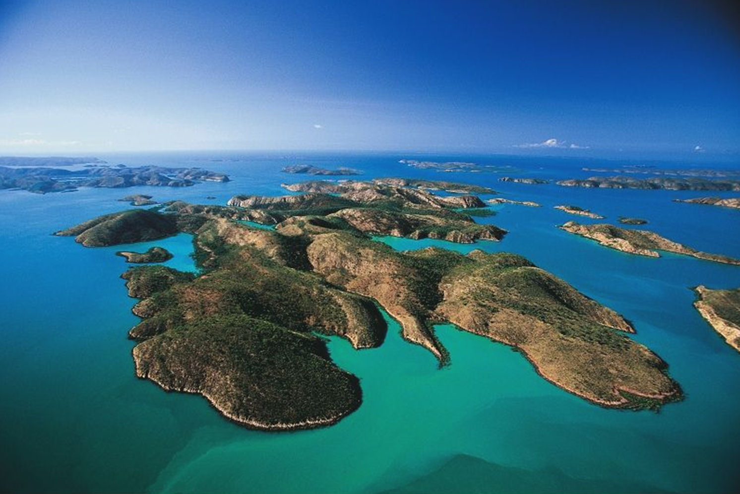 archipelago It seems that archipelago came from the italian arciplago, the name for the aegean sea, which is full of many many islands somehow that became the word for any sea that is chock-full of islands you can also use archipelago to indicate some other grouping that involves neither islands nor water but is similar to them your little sister might create an archipelago of lego buildings on your.